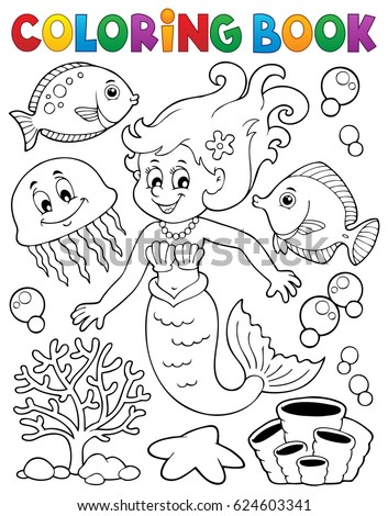 Coloring book mermaid topic 2 - eps10 vector illustration.