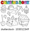 Coloring book mining collection 1 - vector illustration. - stock photo
