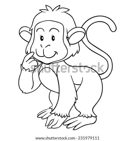Coloring Book Monkey Stock Vector 231979111 - Shutterstock
