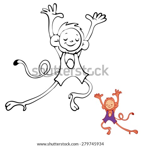 Coloring Book Monkey Kids Layout Game Stock Vector (2018) 279745934 ...