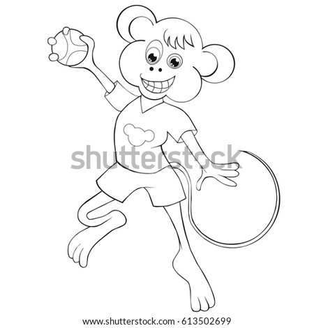 coloring book monkey plays handball cartoon style clip art for children
