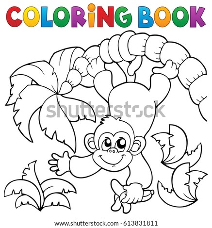 Coloring book monkey theme 2 - eps10 vector illustration.