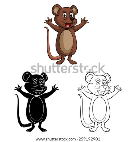Coloring book mouse cartoon character - eps10 vector illustration. - stock vector