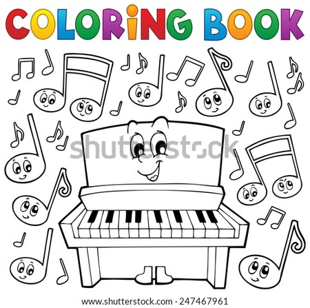 Coloring book music theme image 1 - eps10 vector illustration. - stock vector