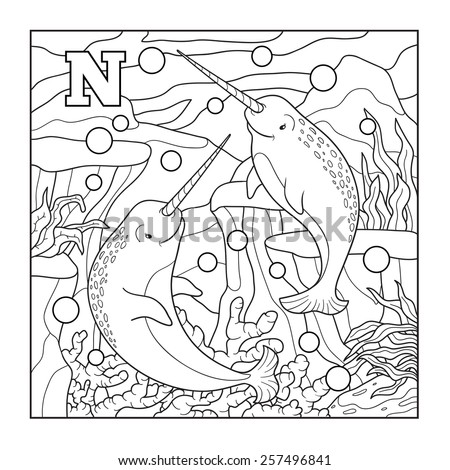 Coloring book (narwhal), colorless illustration (letter N)  - stock vector