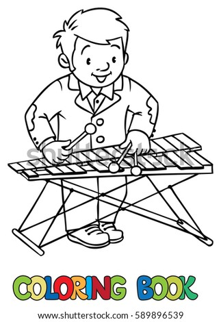 Coloring Book Of Funny Musician Or Xylophone Player Profession Series Children Vector Illustration
