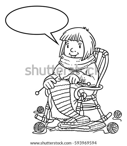 Coloring Book Funny Smiling Knitter Woman Stock Vector 593969594 ...