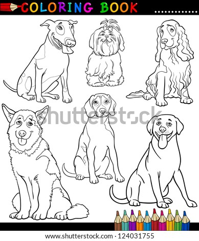 Coloring Book or Coloring Page Black and White Cartoon Vector Illustration of Funny Purebred Dogs or Puppies - stock vector