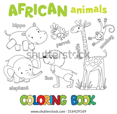 Coloring book or coloring picture set of funny cute african animals, hippo and parrot, elephant and lion, giraffe and monkey - stock vector