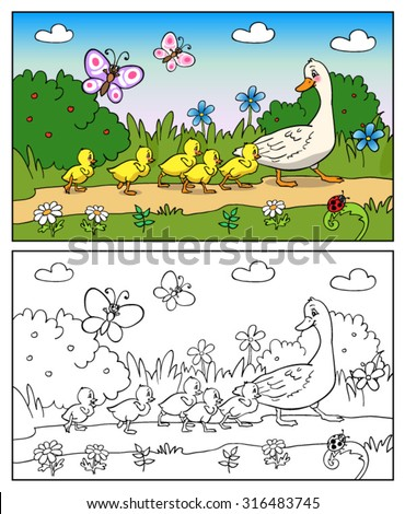 Coloring book or page Cartoon Illustration. Mother duck and ducklings. Mallard duck and baby ducklings. - stock vector