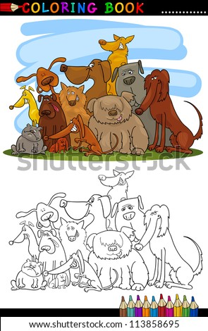 Coloring Book or Page Cartoon Illustration of Cute Dogs Group for Children - stock vector