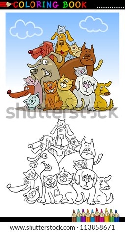 Coloring Book or Page Cartoon Illustration of Funny Dogs Group for Children - stock vector