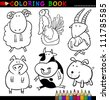 Coloring Book or Page Cartoon Illustration of Funny Farm and Livestock Animals for Children - stock photo