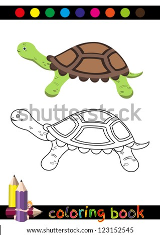 Coloring Book or Page Cartoon Illustration of Funny Turtle for Children