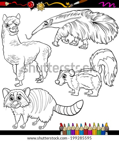 Coloring Book Or Page Cartoon Vector Illustration Of Black And White Animals Characters For Children