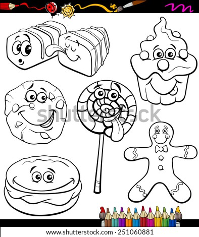 Coloring Book or Page Cartoon Vector Illustration of Black and White Funny Sweets and Cookies Set - stock vector