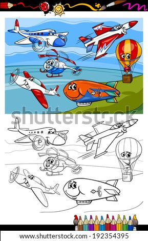 Coloring Book or Page Cartoon Vector Illustration of Color and Black and White Planes and Aircraft Characters Group for Children - stock vector