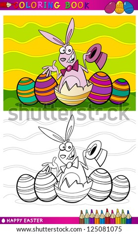 Coloring Book or Page Cartoon Vector Illustration of Easter Bunny with Hat hatched from egg and Painted Eggs - stock vector