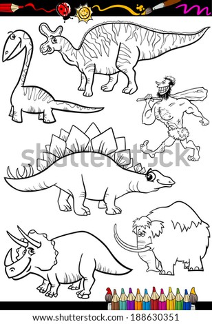 Coloring Book or Page Cartoon Vector Illustration Set of Black and White Dinosaurs and Prehistoric Animals Characters for Children - stock vector