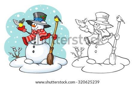 Coloring book or page, illustration. Card concept - Cute snowman with broom and two birds. - stock vector