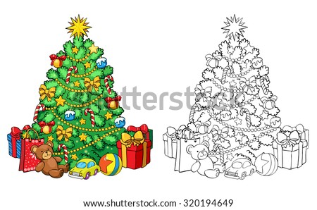 Coloring book or page, illustration. Christmas tree with decorations and gifts. Greeting card concept. - stock vector