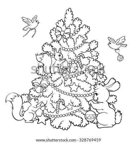 Coloring book or page. Rabbit, squirrels and birds decorate the Christmas Tree. - stock vector