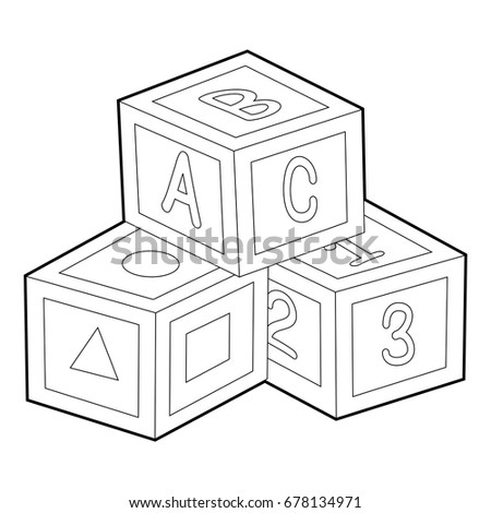 Coloring Book Outline Toy Blocks Stock Vector 2018 678134971 Rh Shutterstock Com Boat Of Quilt And Designs