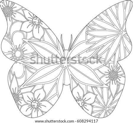 Coloring Book Page Butterfly Pattern