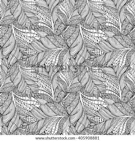 Coloring book page design with Feather Pattern. Ethnic ornament. Isolated vector illustration with Feather in zentangle style. Headwear or neckwear Pattern design. Fashion Bird Feather Pattern