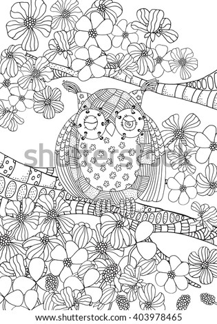 Coloring Book Page For Adult And Children Owl Sitting On Tree Branch Flowers