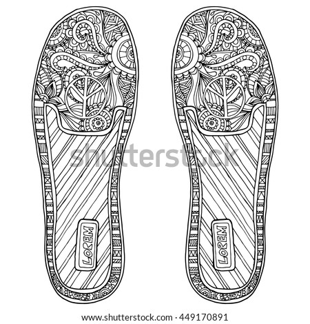 coloring book page for adult anti stress hippie sneakers in zentangle style indian ornament - Hippie Coloring Book