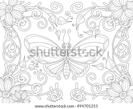 Coloring book page for adult with butterfly flowers and curls. Vector black and white pattern