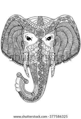 elephant head coloring page - zentangle stylized ethnic indian elephant boho stock