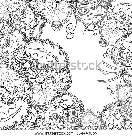 Coloring book page for adults. Mandala with vintage flowers pattern. Zendala. Zentagle. - stock vector