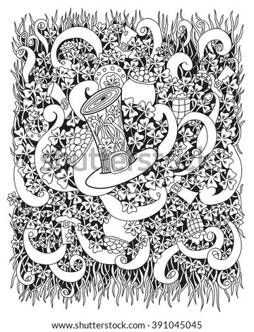 Coloring book page for adults. Vector. Hand drawn artwork. St.Patrick 's Day. Gold, clover, hat, horseshoe.