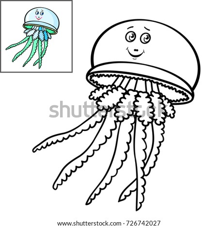 Coloring Book Page For KidsCute Cartoon Fish Smiling JellyfishVector Illustration
