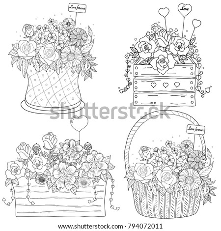Coloring Book Page Of Flower Basket For AdultValentines Day Vector Illustration Hand