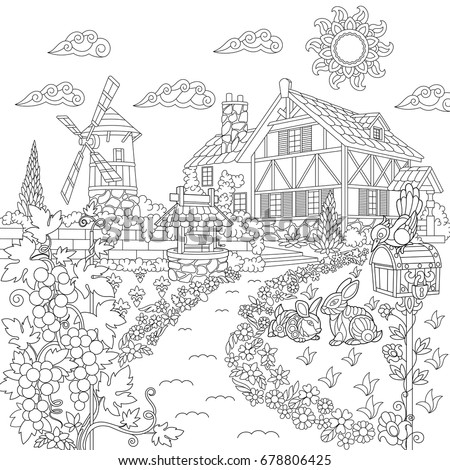 Coloring Book Page Rural Landscape Farm Stock Vector Royalty Free 678806425