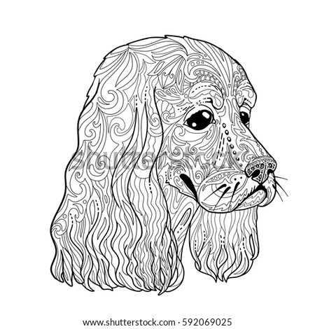 Coloring Book Page With Spaniel Head For Adults Ethnic Decorative Doodle Dog Vector Illustration