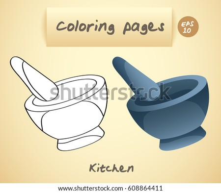Coloring Book Pages Kids Kitchen Pestle Stock Vector 608864411 ...