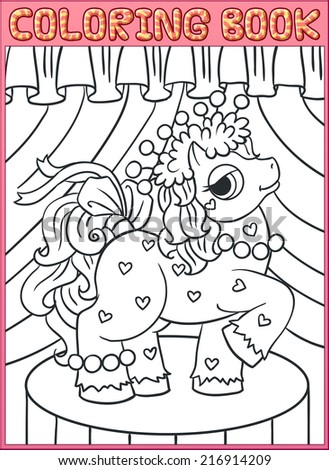 Coloring book pages. Little Beautiful Pony - stock vector