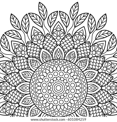 Coloring Book Pages Mandala Indian Antistress Medallion Abstract Islamic Flower Arabic Henna