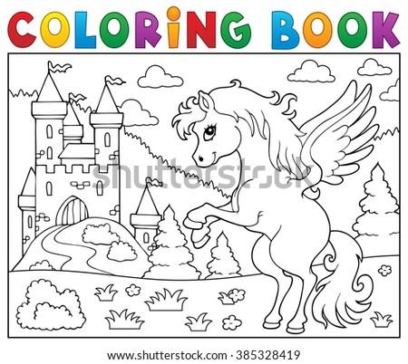 Coloring book pegasus near castle - eps10 vector illustration. - stock vector