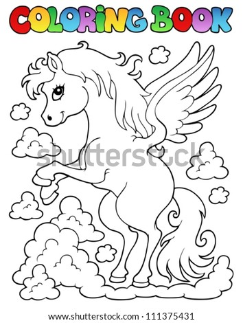 Coloring book pegasus theme 1 - vector illustration. - stock vector