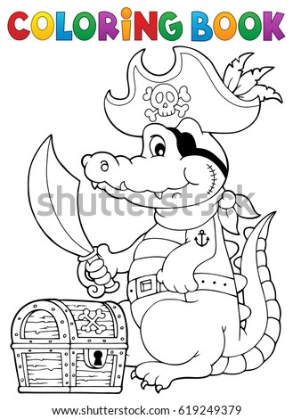 Coloring book pirate crocodile - eps10 vector illustration.