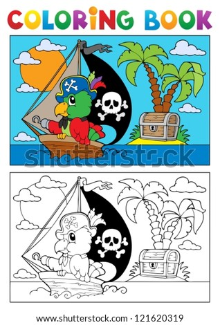 Coloring book pirate parrot theme 3 - vector illustration. - stock vector
