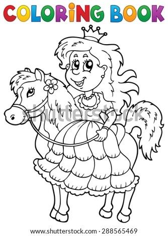 Coloring book princess theme 2 - eps10 vector illustration. - stock vector