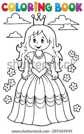 Coloring book princess theme 3 - eps10 vector illustration. - stock vector