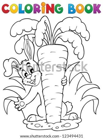 Coloring book rabbit theme 1 - vector illustration. - stock vector