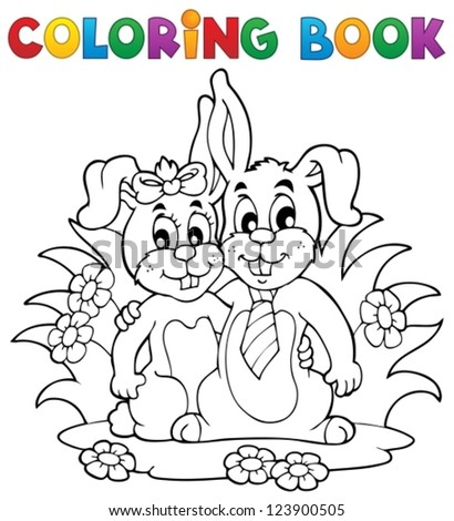 Coloring book rabbit theme 2 - vector illustration. - stock vector